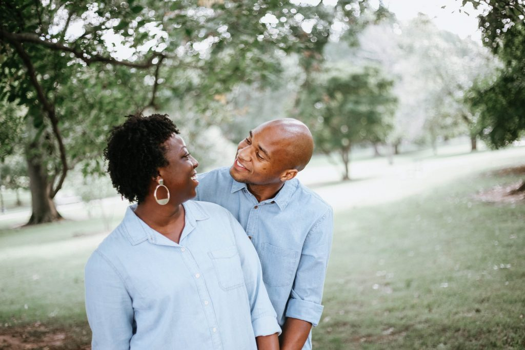 african american couple at the park